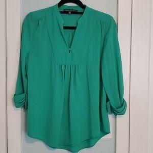 Green Split neck blouse